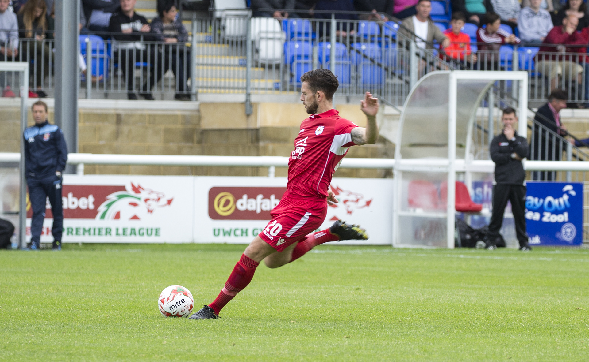 Wes Baynes strikes a spectacular free kick to give The Nomads the lead on the third minute - © NCM Media