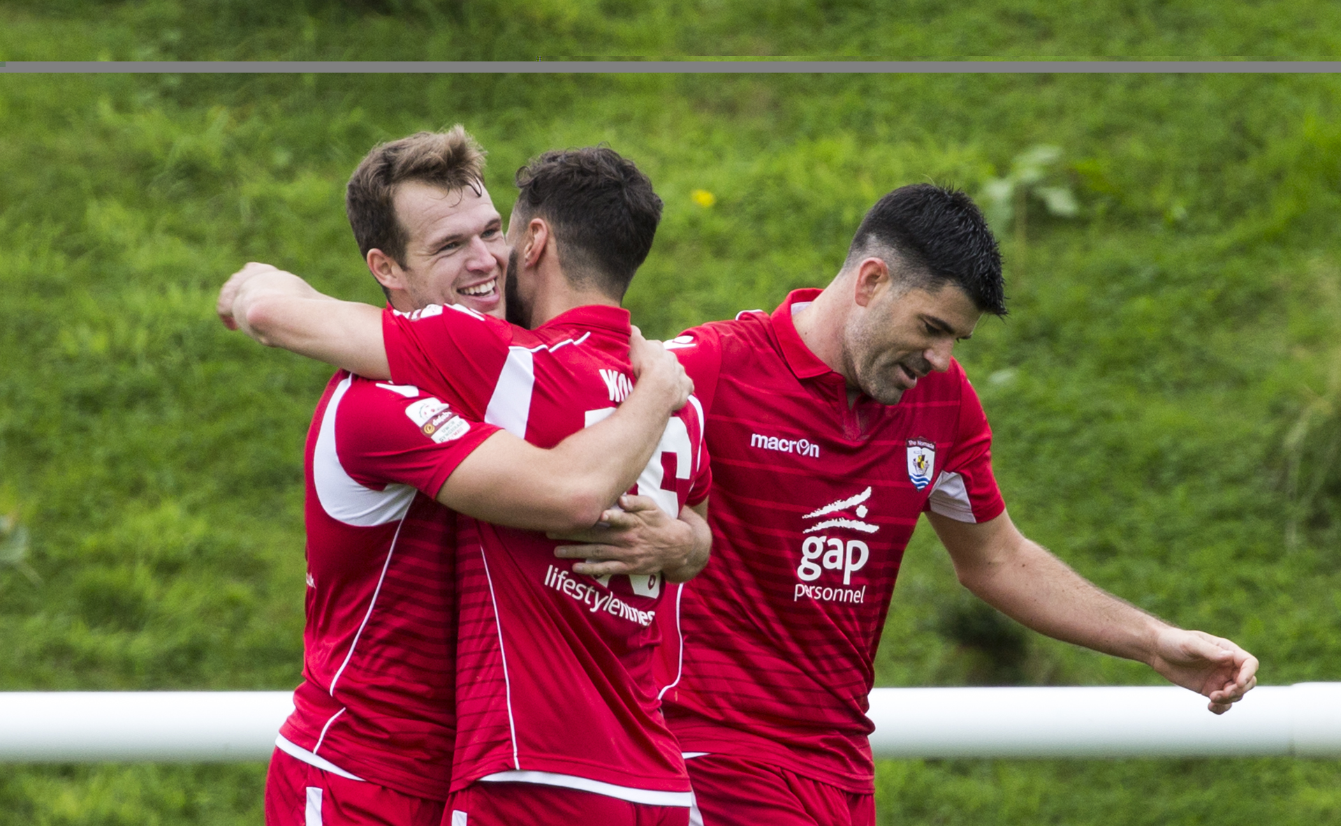 Callum Morris (left) celebrates scoring against his former side - © NCM Media