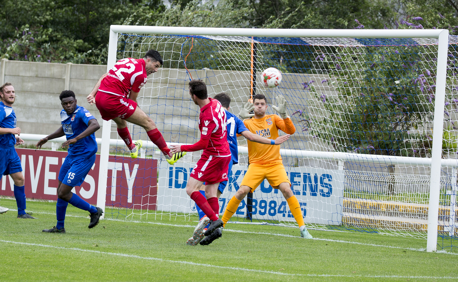 Michael Wilde sees his first half header go wide - © NCM Media