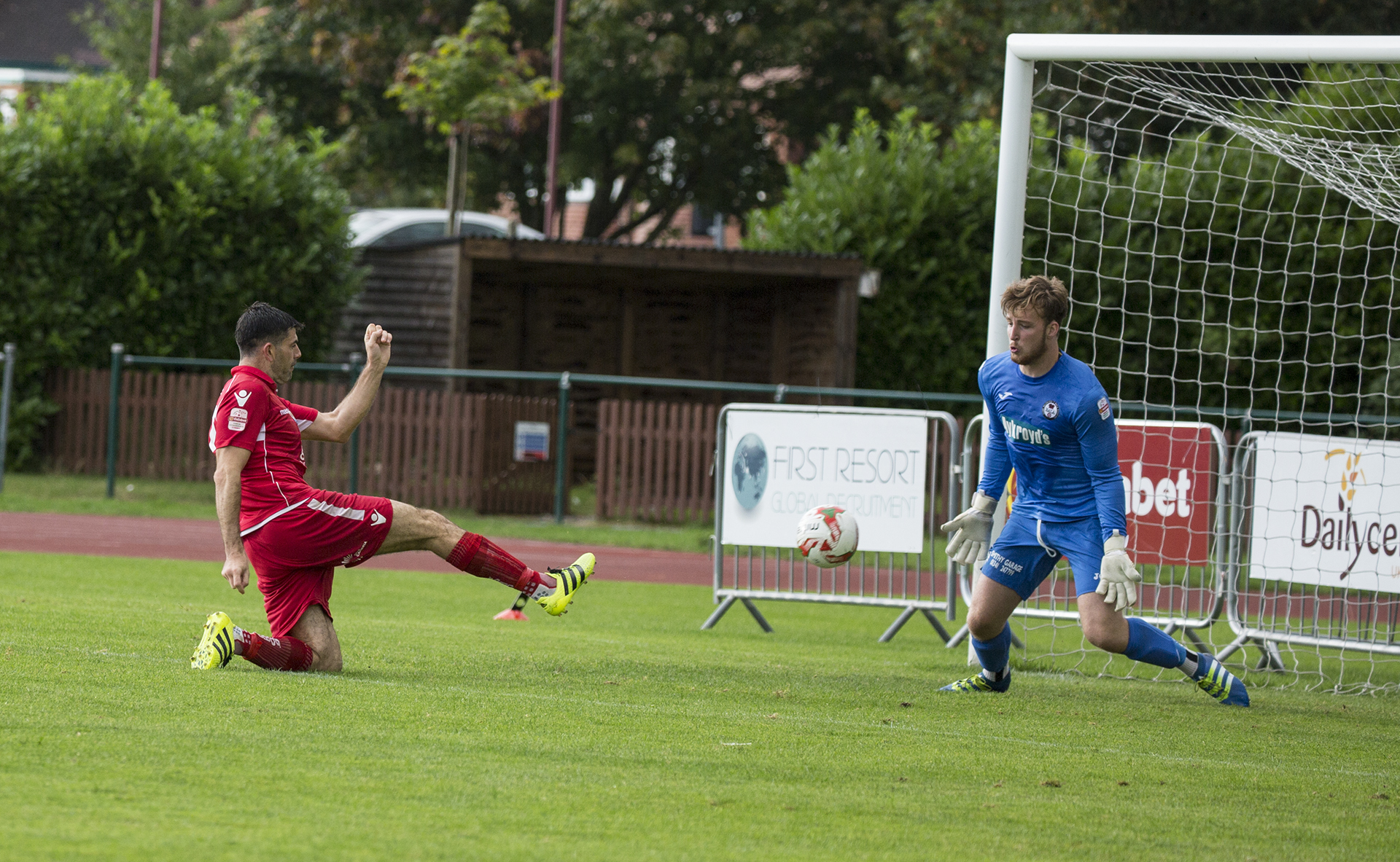 Michael Wilde sees his second half point blank shot saved by Alex Lynch in the Bala goal