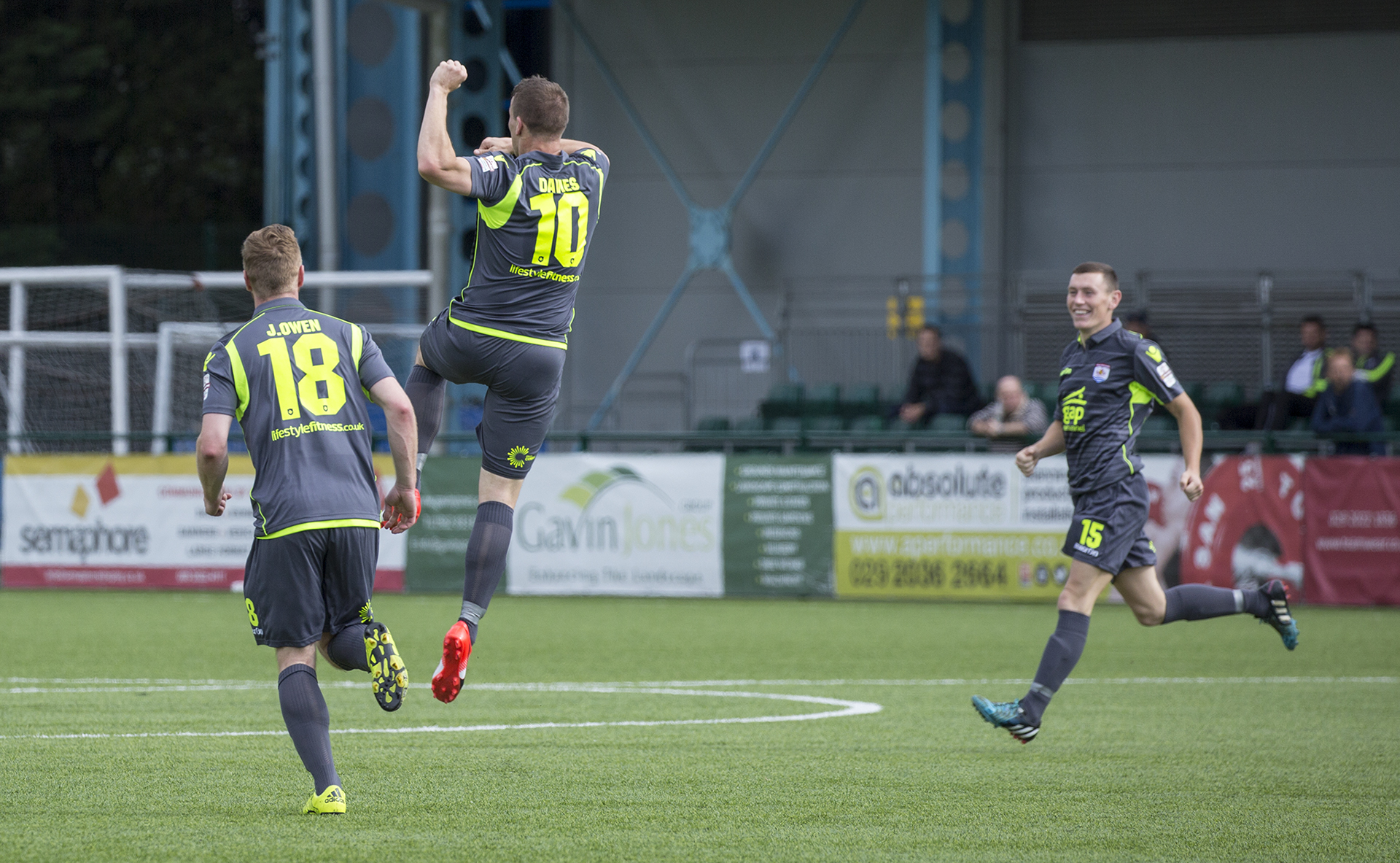 Les Davies celebrates The Nomads' second goal