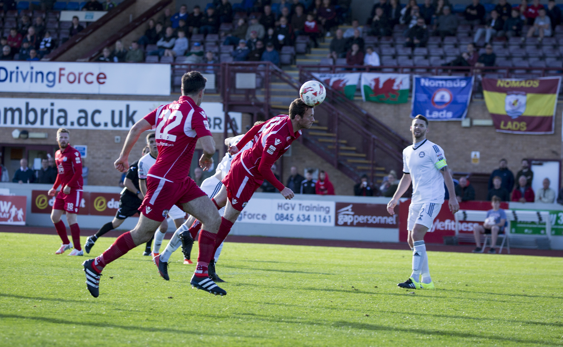 Matty Williams is unable to get his second half header on target - © NCM Media
