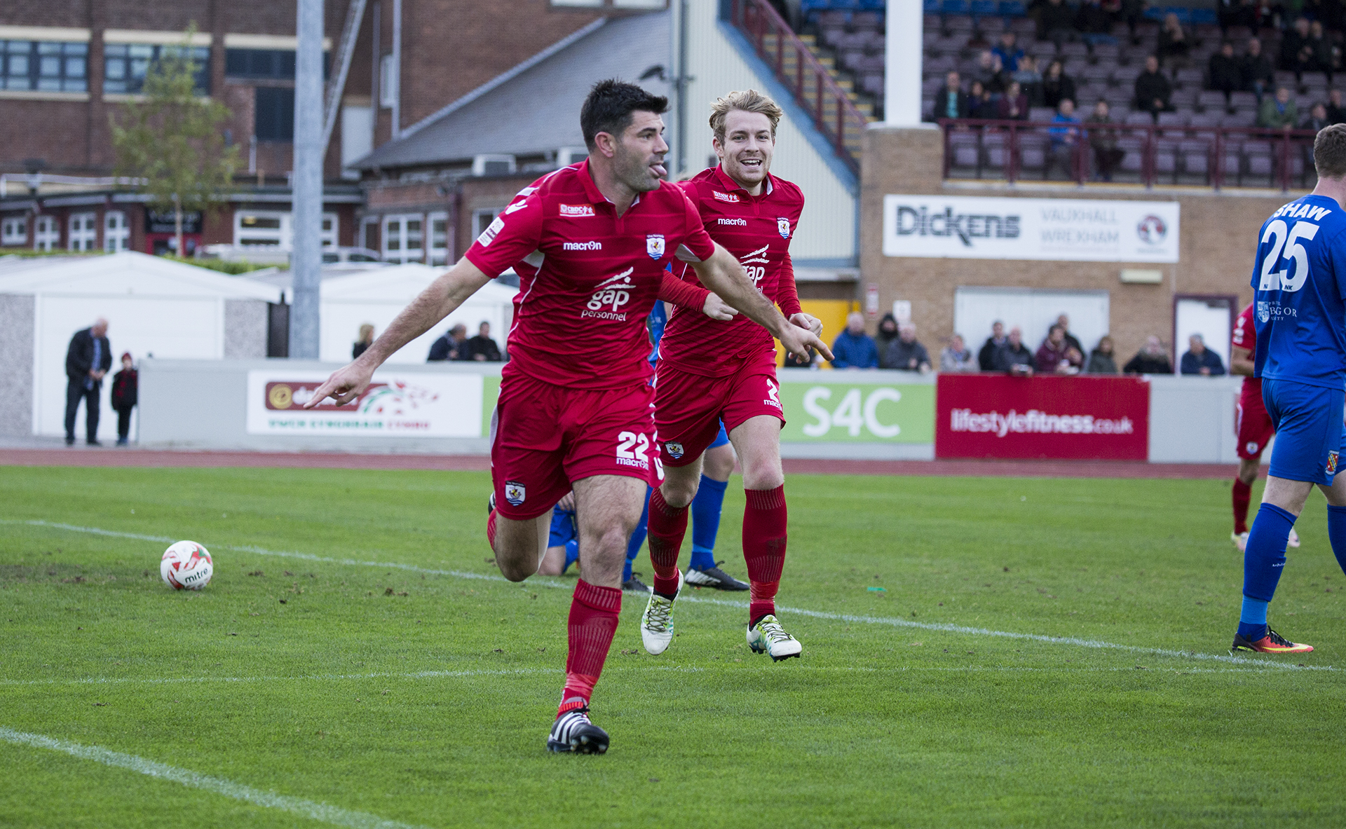 Michael Wilde celebrates his second half header - © NCM Media