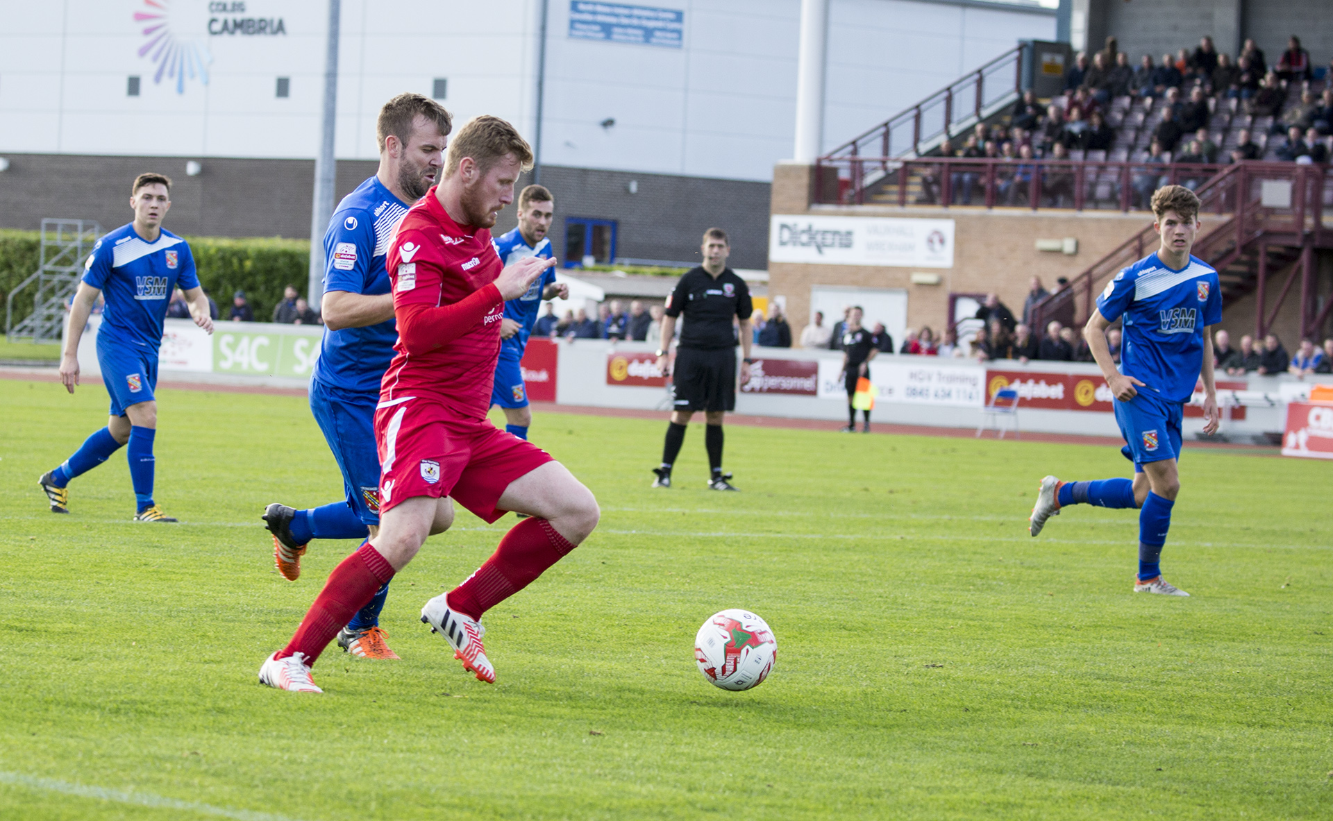 Jay Owen bursts into the Bangor box - © NCM Media