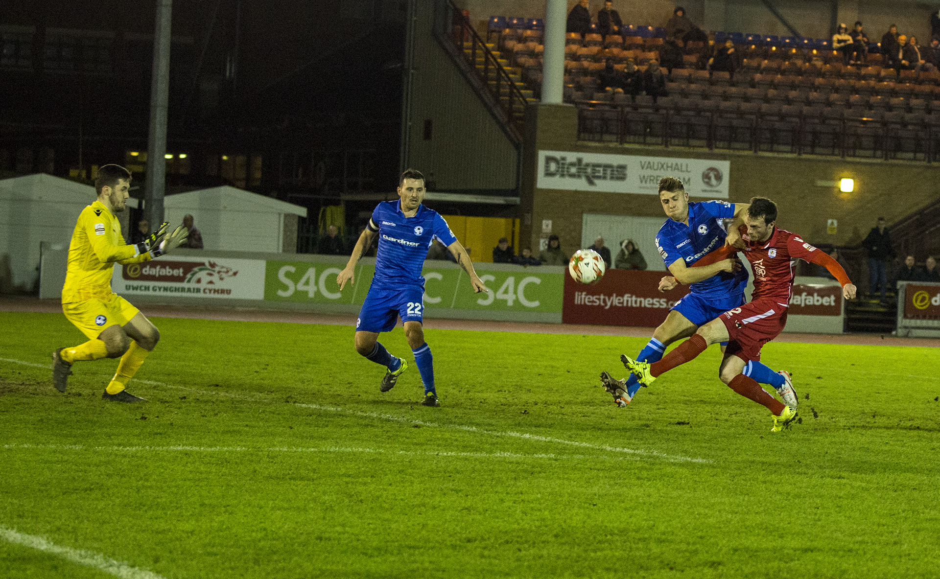 Matty Williams scoops the ball over the bar shortly after his goal - © NCM Media