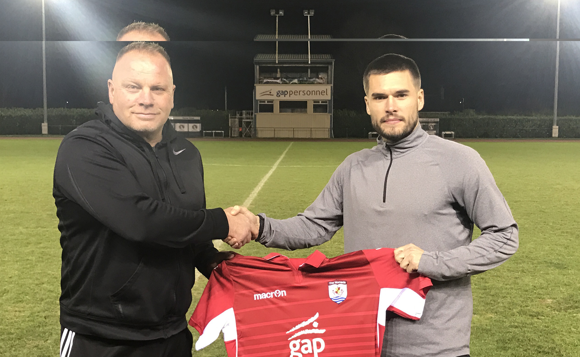 Andy Morrison with new signing, Kai Edwards