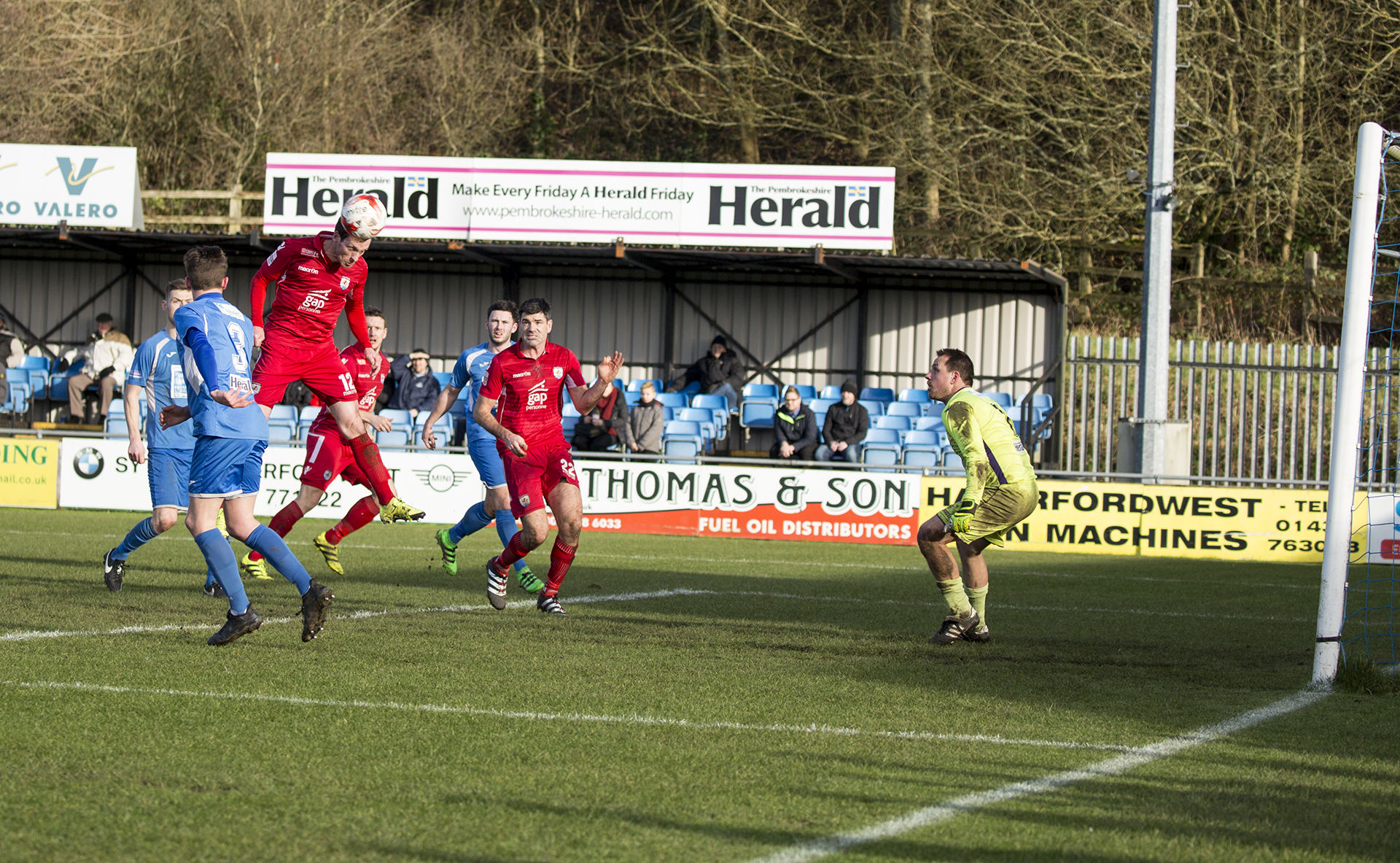 Matty Williams nods home in the 13th minute - © NCM Media
