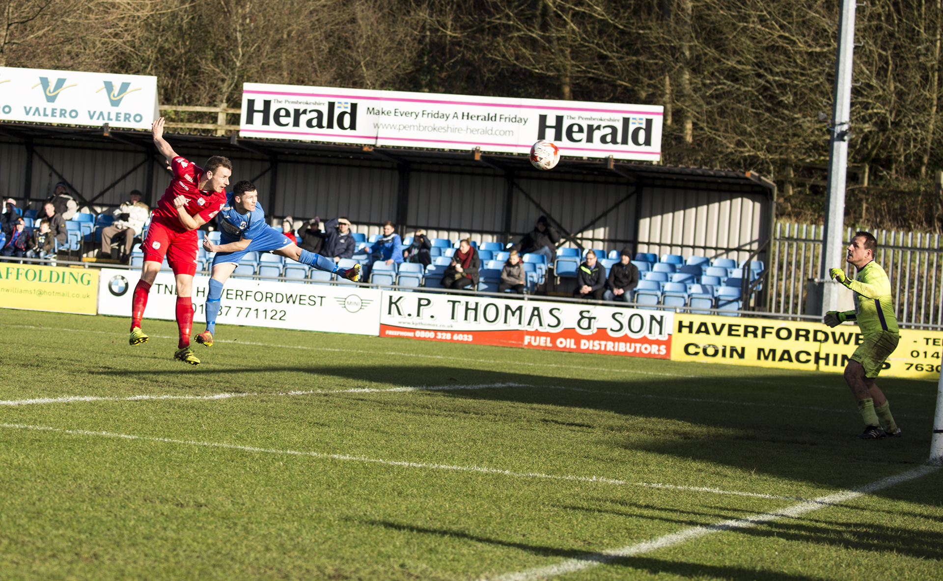 Les Davies gives The Nomads the lead with a powerful header in the 10th minute - © NCM Media