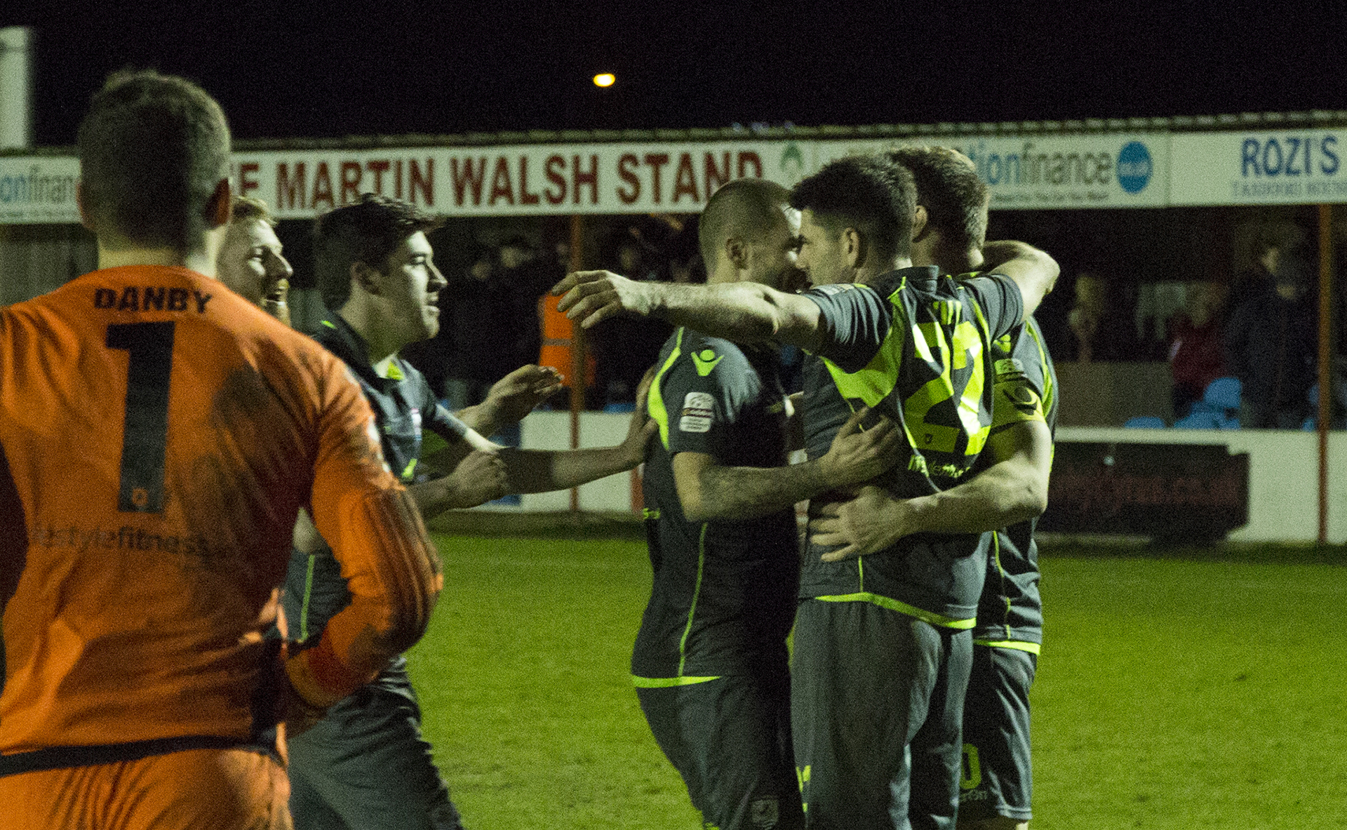 The Nomads celebrate their penalty shootout victory over Prestatyn Town in the JD Welsh Cup - © NCM Media