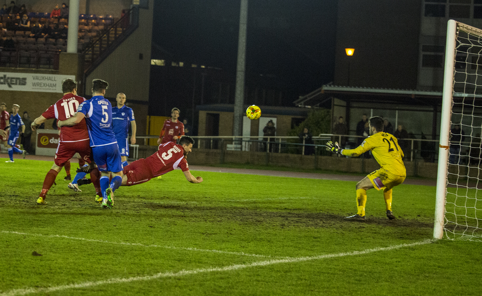 George Horan scores his hat-trick goal against Airbus UK - © NCM Media