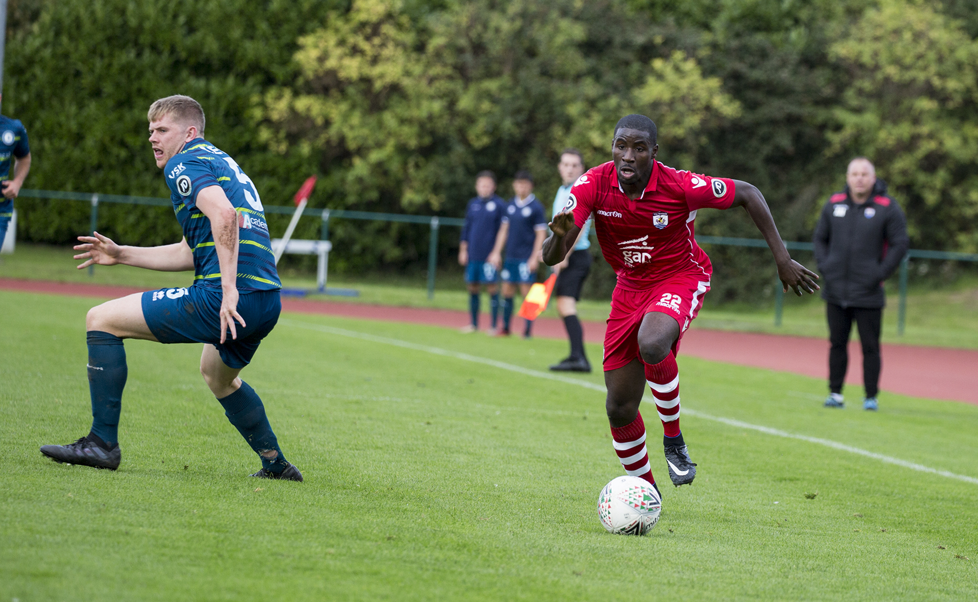 Michael Bakare turns the Cardiff Met defence in the second half - © NCM Media