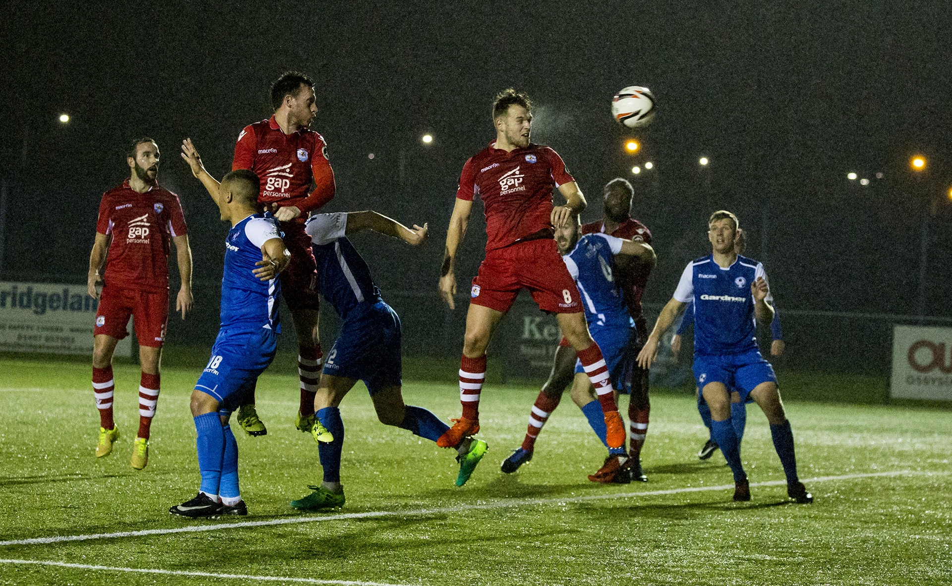 Callum Morris heads The Nomads in front in the first half - © NCM Media