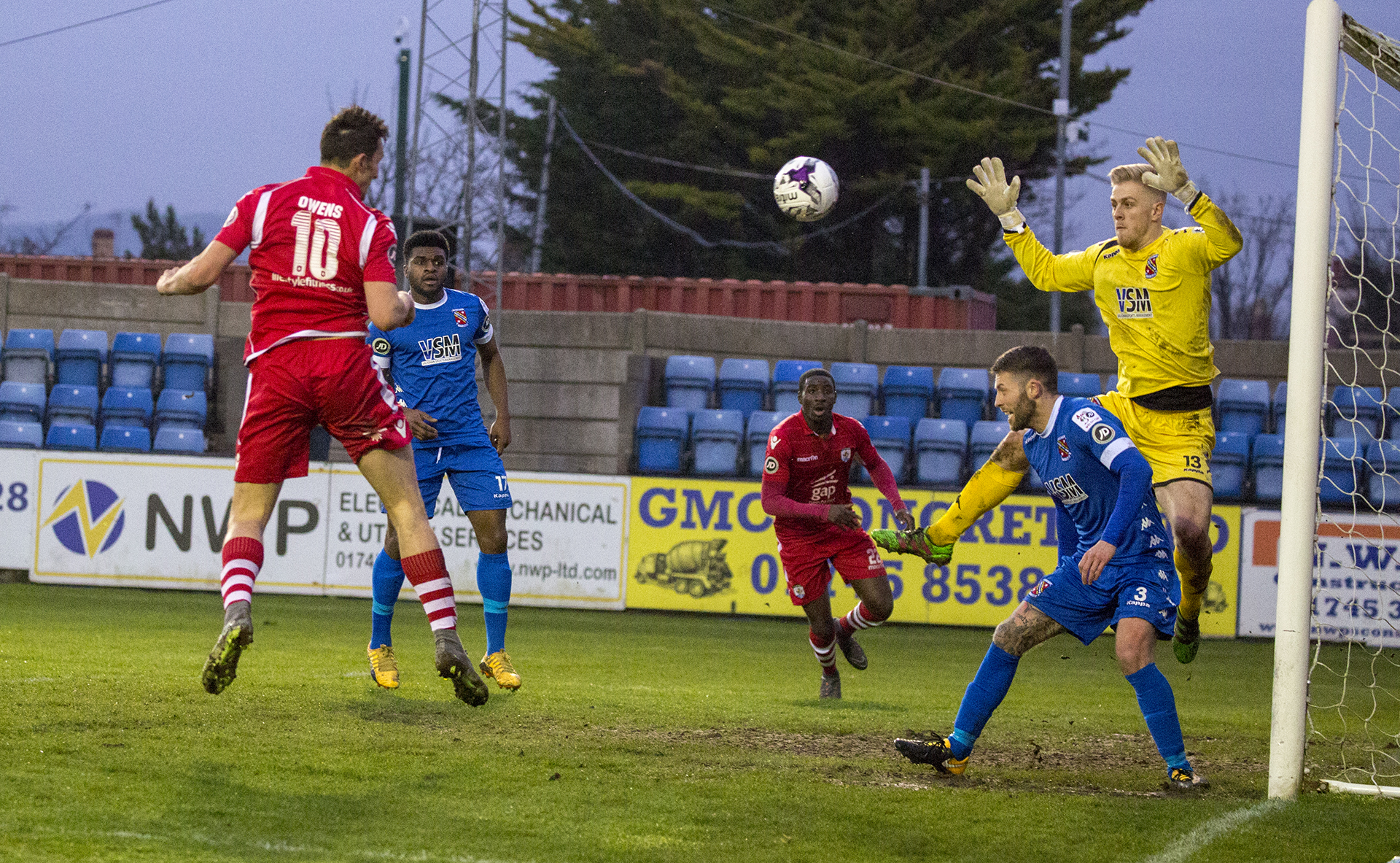 Andy Owens opens the scoring at Rhyl - © NCM Media