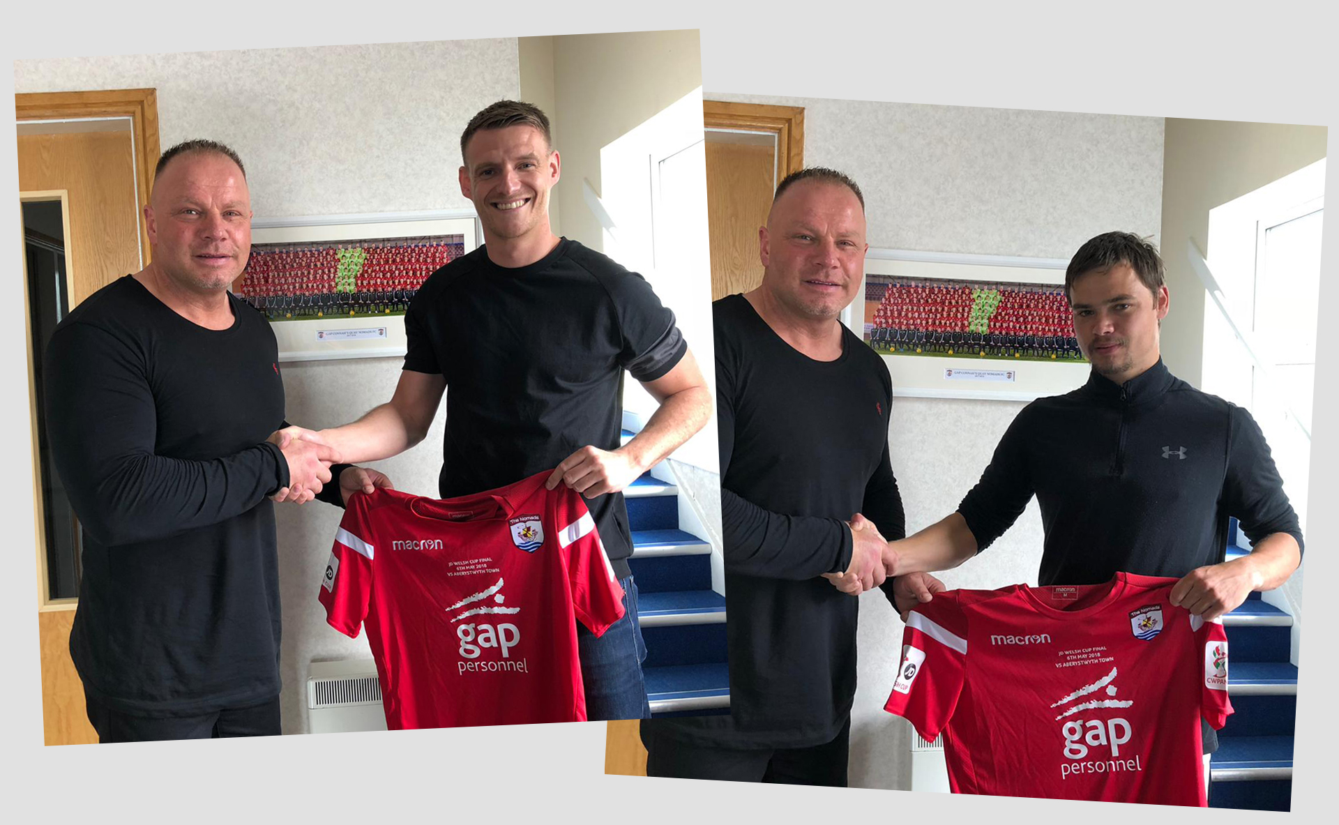 Andy Morrison pictured with new signings, Michael Parker (left) and Noah Edwards (right)