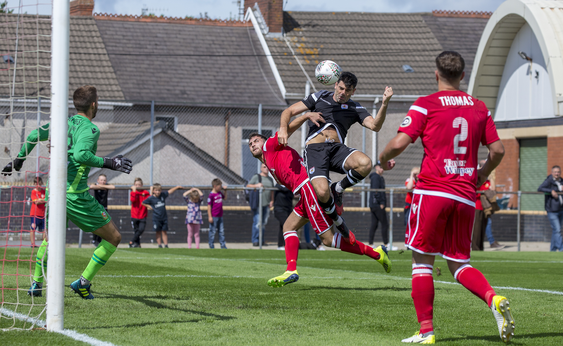 Michael Wilde heads home to score The Nomads' first goal of the 2018/19 campaign © NCM Media