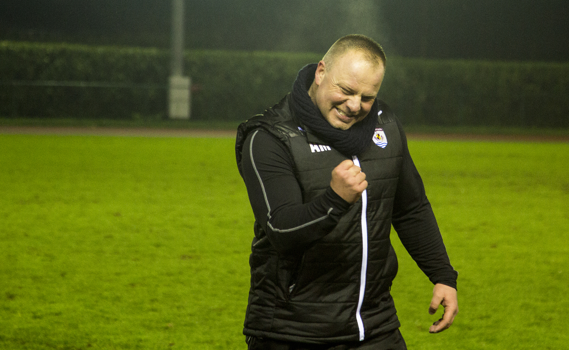 Andy Morrison celebrates after The Nomads 2-0 victory over TNS in January 2016 to secure Top Six football © NCM Media