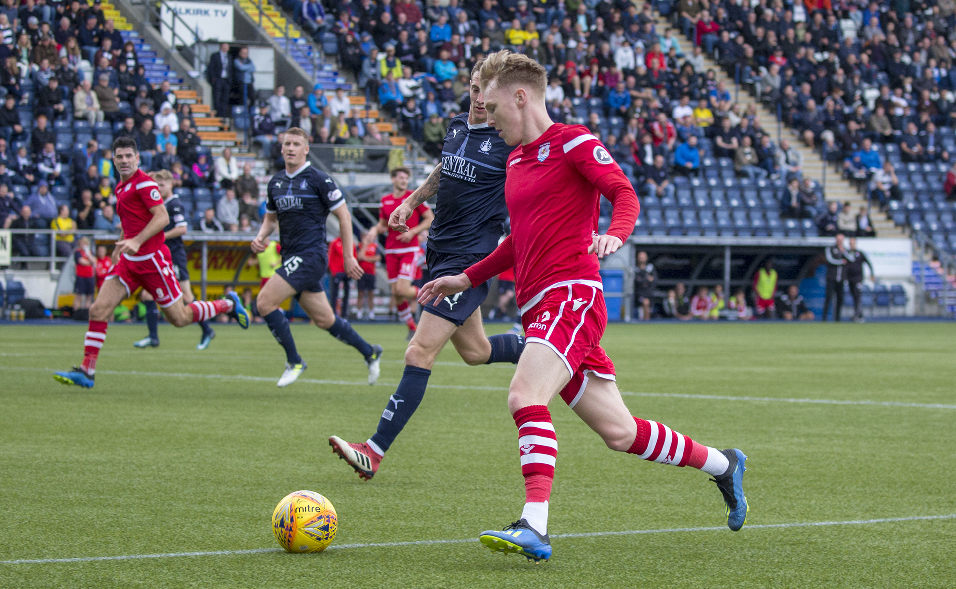 Declan Poole was a thorn in Falkirk's side all afternoon © NCM Media
