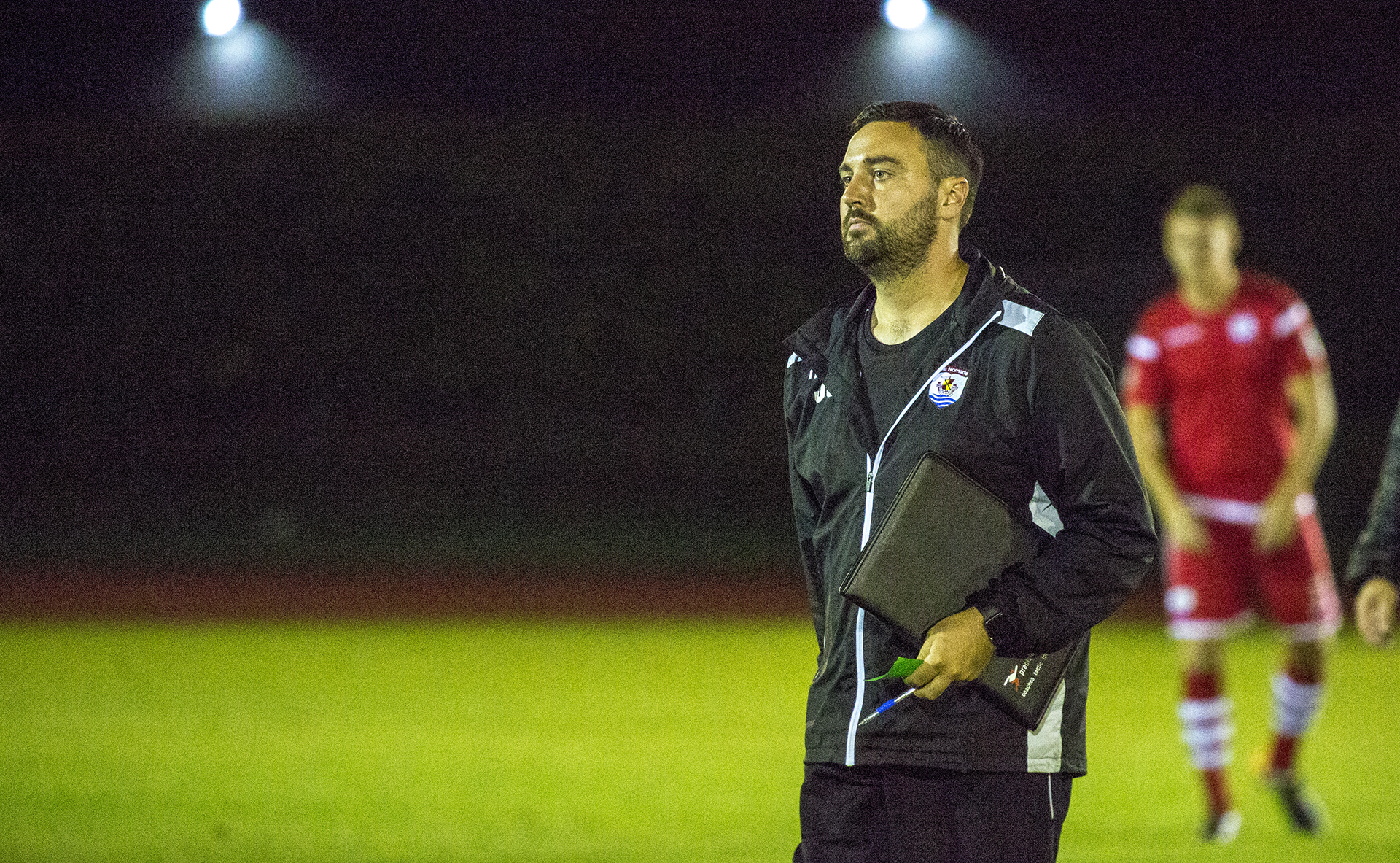 Jay Catton photographed at half time during The Nomads' match with Newtown © NCM Media
