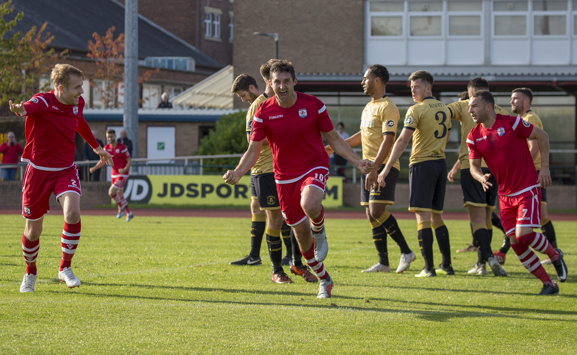 Andy Owens celebrates his 81st minute header © NCM Media