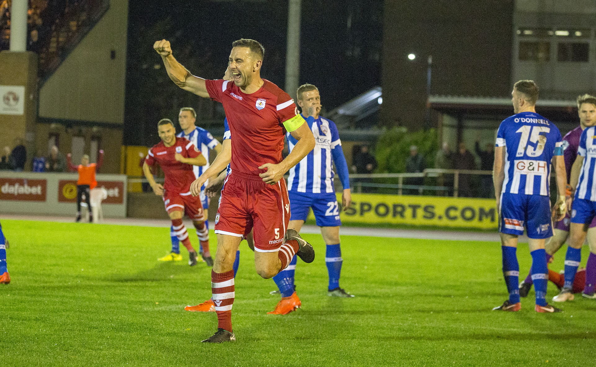 George Horan celebrates his goal against Coleraine in the 2018/19 Irn Bru Cup