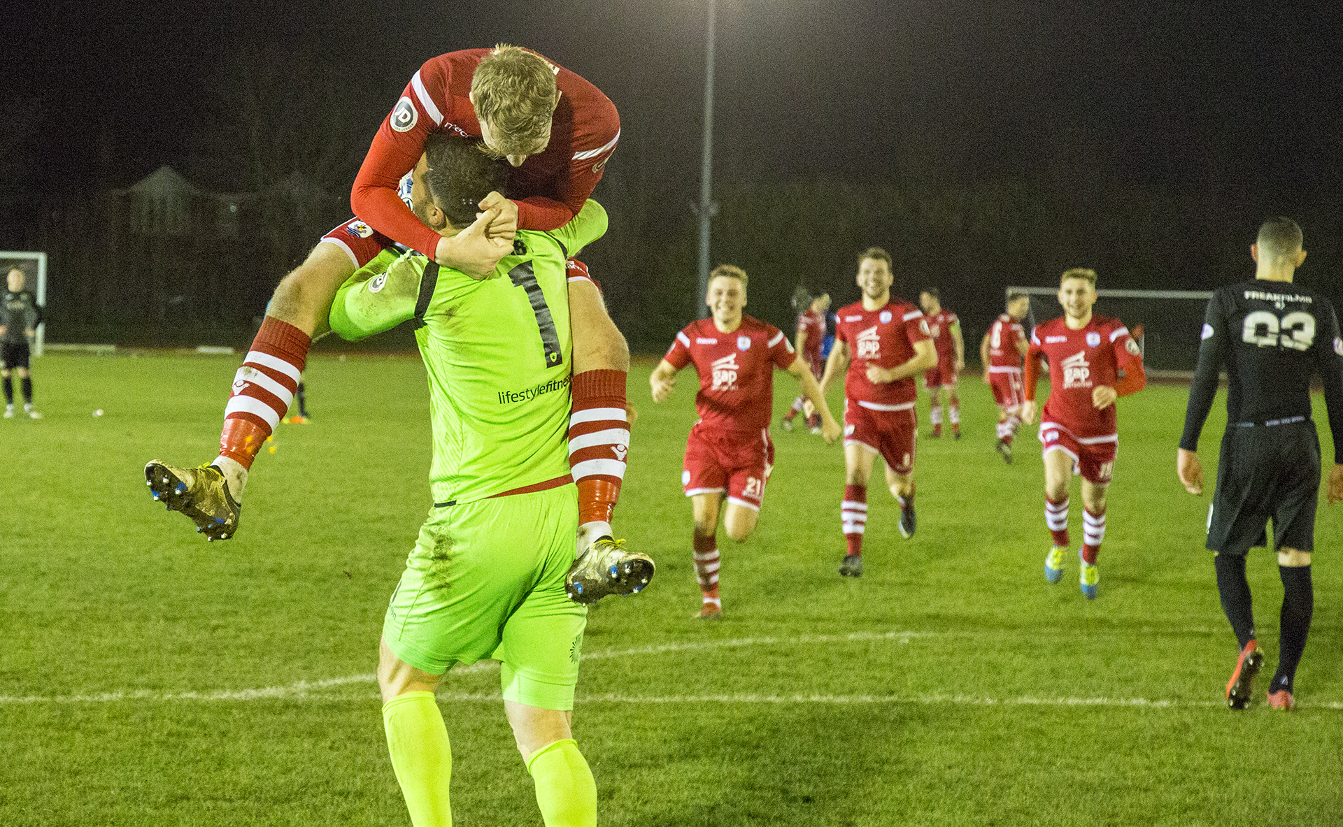John Danby and John Disney celebrate The Nomads penalty shootout victory | © NCM Media