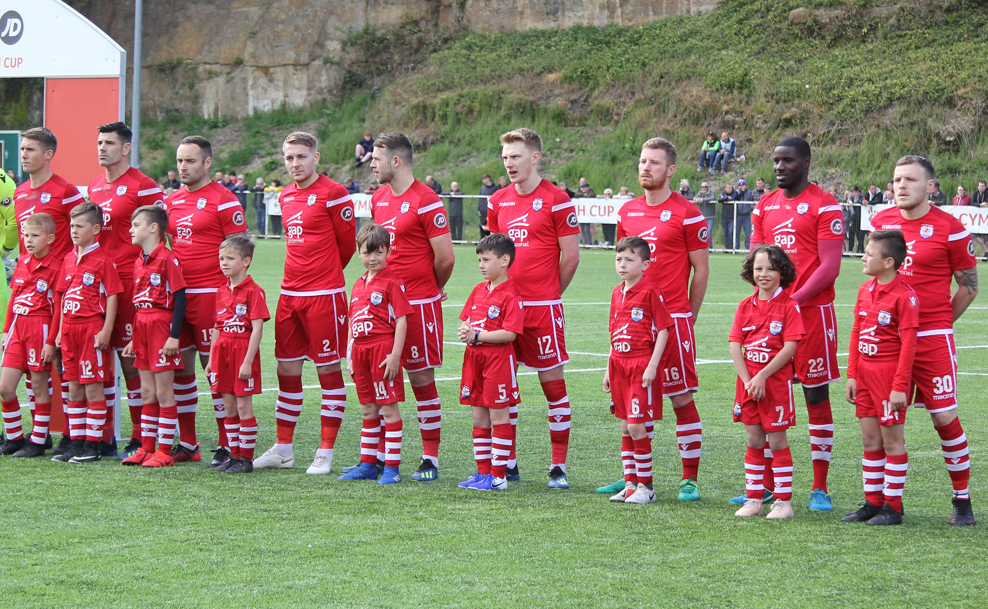 Connah's Quay Nomads players line up ahead of the 2019 JD Welsh Cup Final | © NCM Media