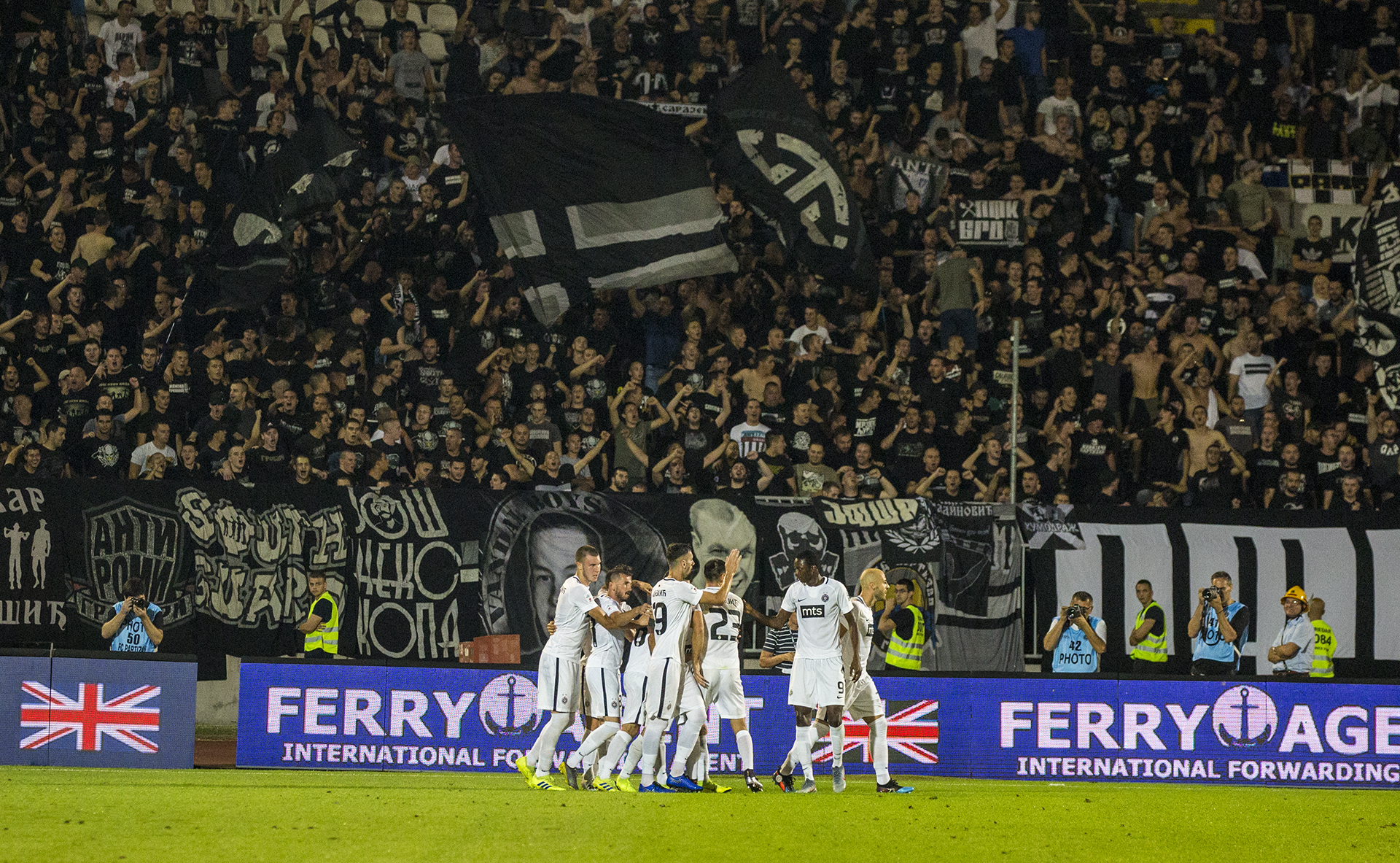 FK Partizan celebrate their opening goal | &xopy; NCM Media