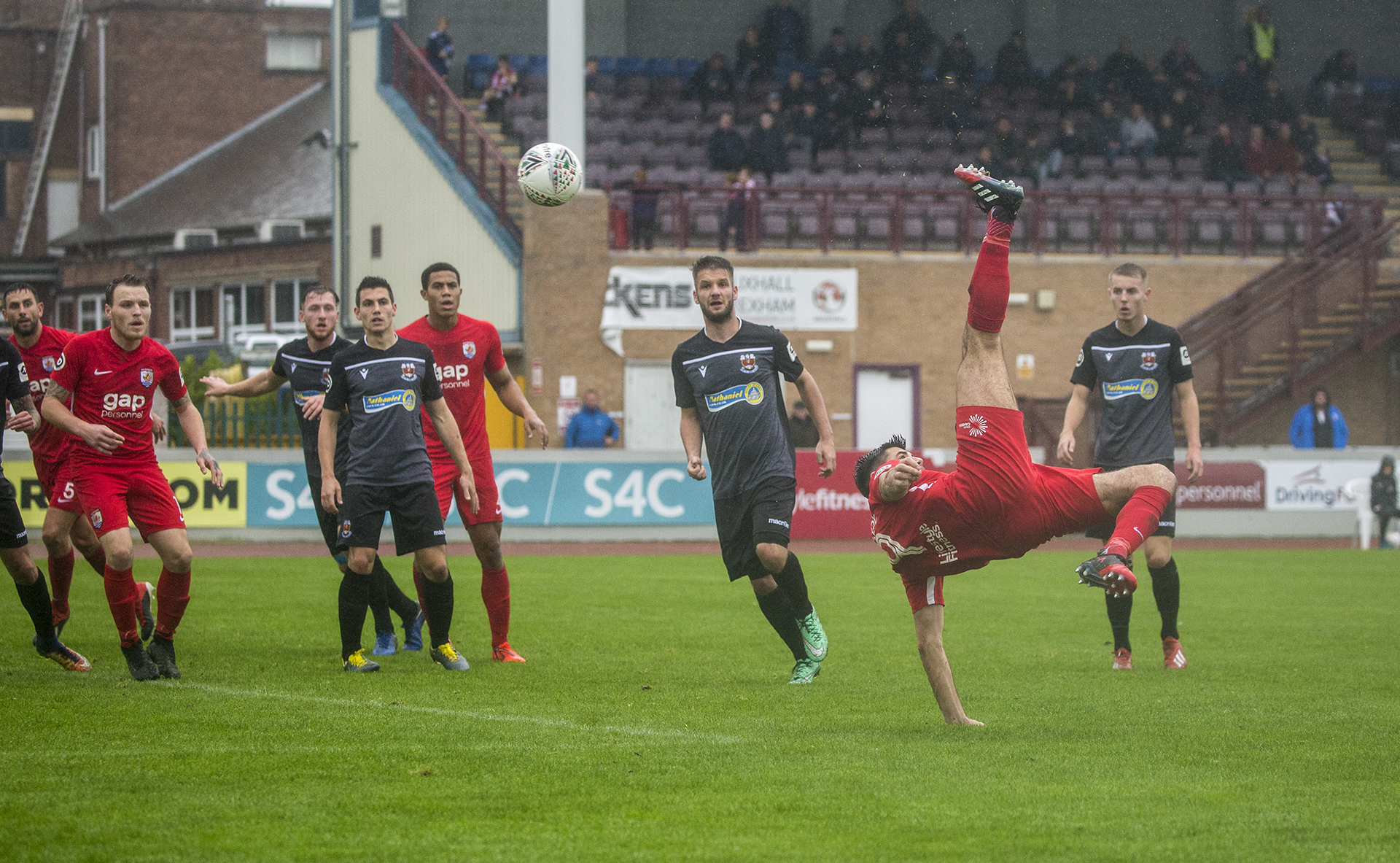 Michael Wilde attempts an acrobatic bicycle kick | © NCM Media