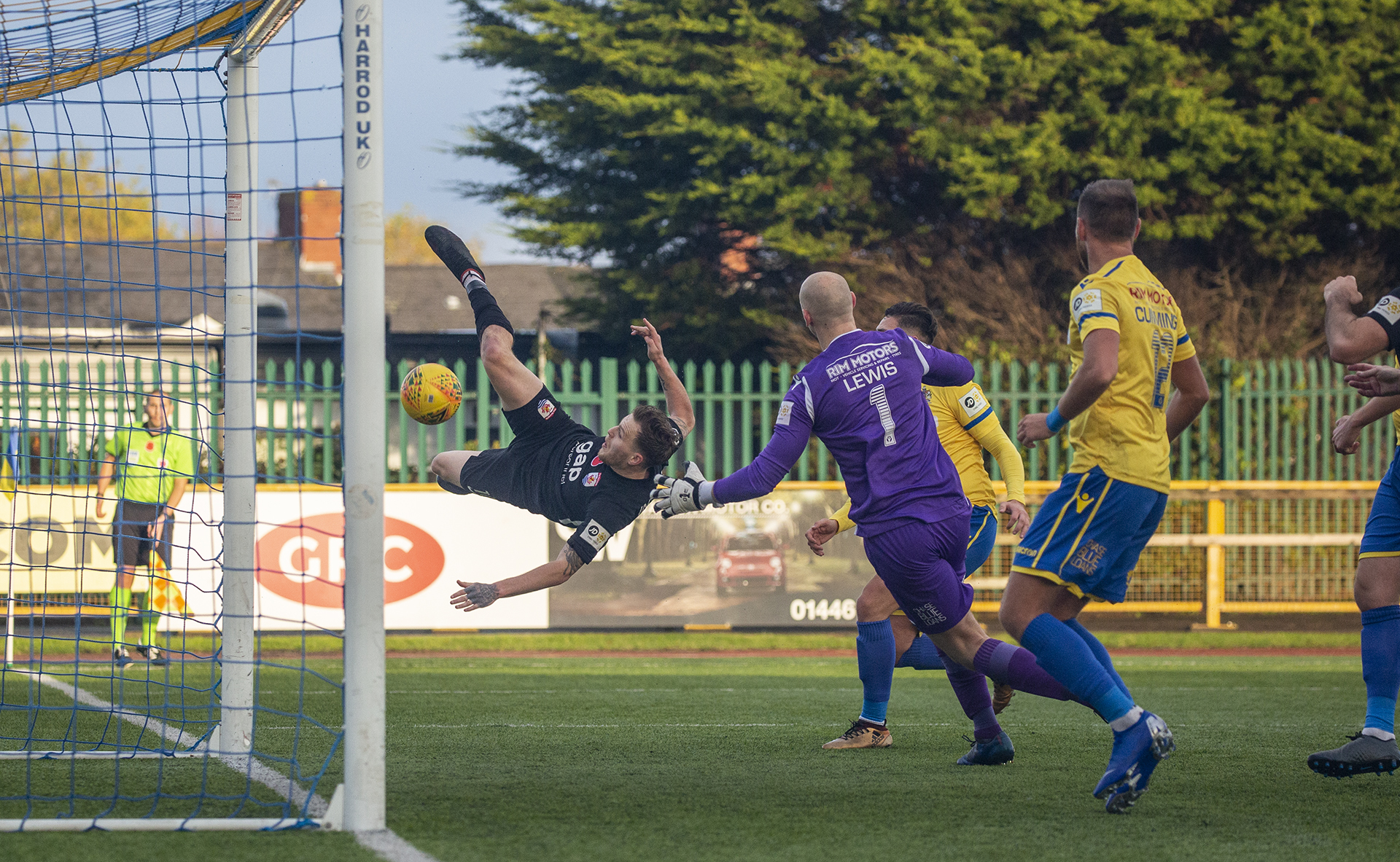 Jamie Insall's acrobatic volley sent The Nomads 2-0 up | © NCM Media