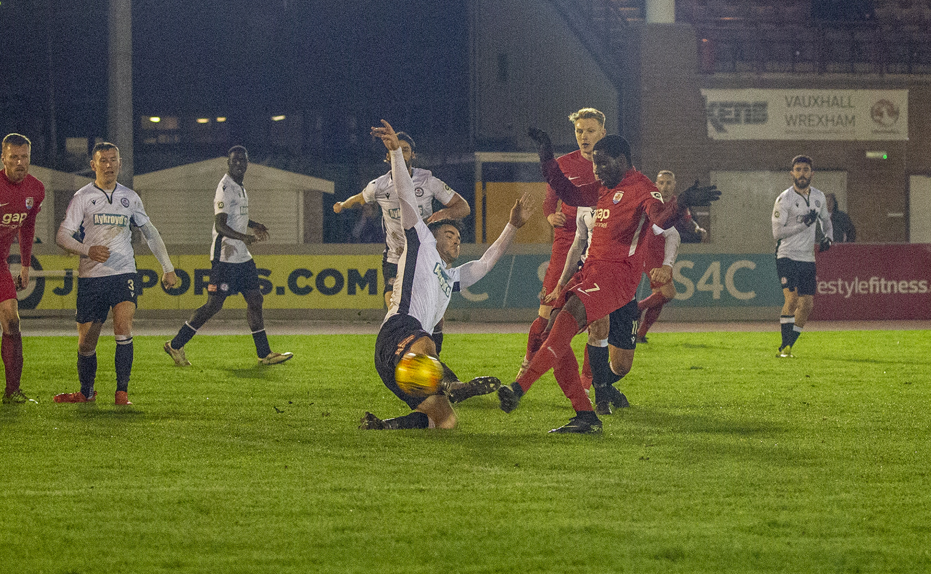 Michael Bakare slams home The Nomads' equalising goal | © NCM Media